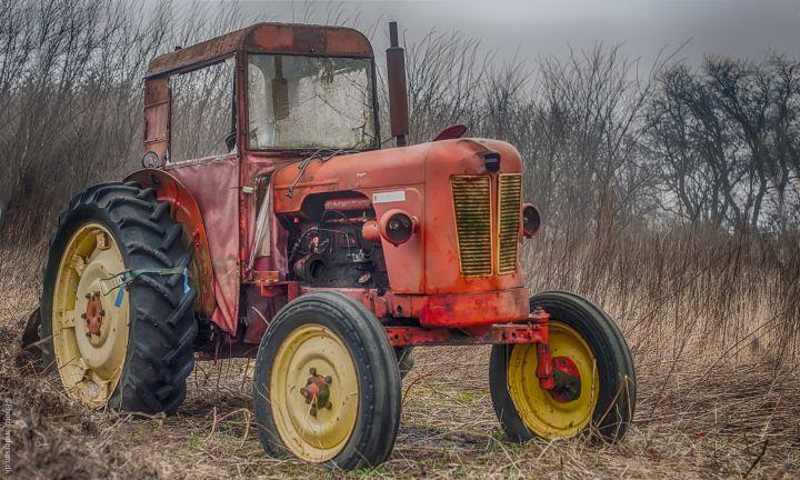 Gammel Traktor på en mark nær Esbjerg