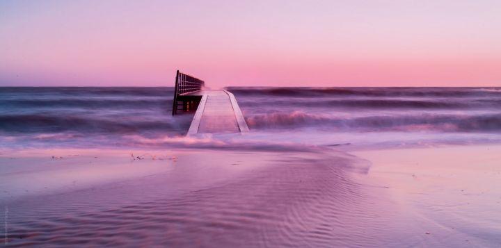 Hvidbjerg Strand i solnedgang og hvor det blæste helt sindsygt meget ude