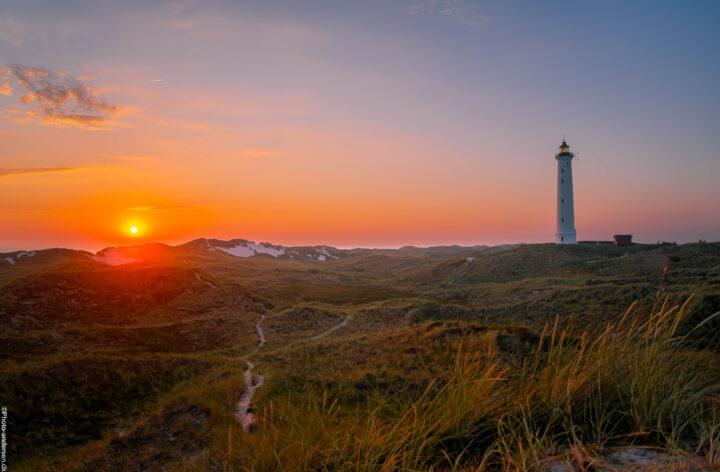 Nr. Lyngvig fyr ved Hvide-Sande, hvor stierne viser vejen mod stranden og solens varme