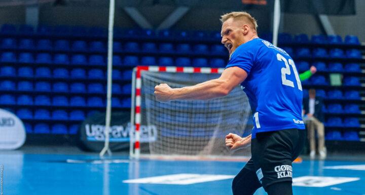 Miha Zvizej fra Ribe Esbjerg HH jubler efter en scoring mod Aalborg Håndbold